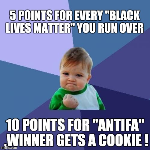 "Success Kid Meme | 5 POINTS FOR EVERY ""BLACK LIVES MATTER"" YOU RUN OVER 10 POINTS FOR ""ANTIFA"" ,WINNER GETS A COOKIE ! 