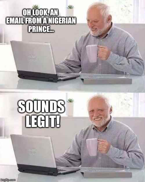 OH LOOK, AN EMAIL FROM A NIGERIAN PRINCE... SOUNDS LEGIT! | made w/ Imgflip meme maker