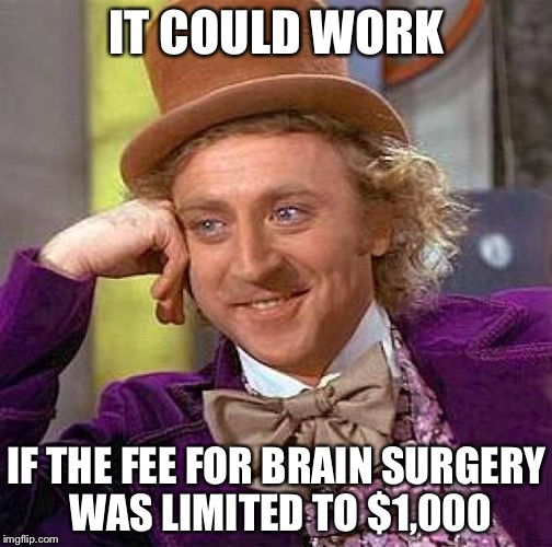Creepy Condescending Wonka Meme | IT COULD WORK IF THE FEE FOR BRAIN SURGERY WAS LIMITED TO $1,000 | image tagged in memes,creepy condescending wonka | made w/ Imgflip meme maker