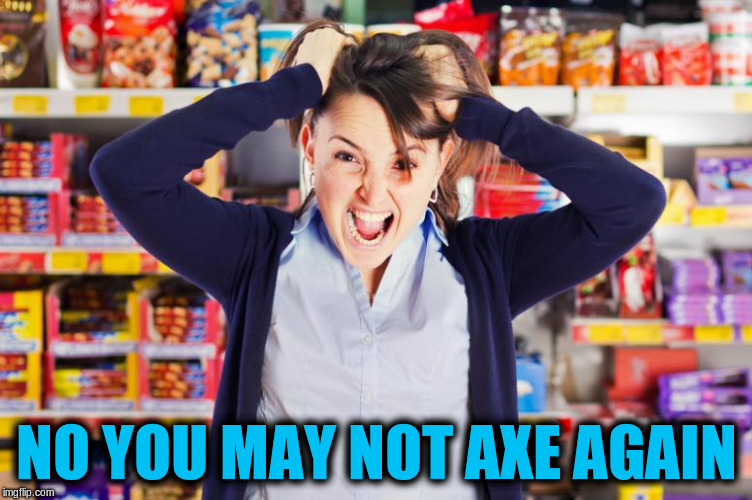 NO YOU MAY NOT AXE AGAIN | made w/ Imgflip meme maker