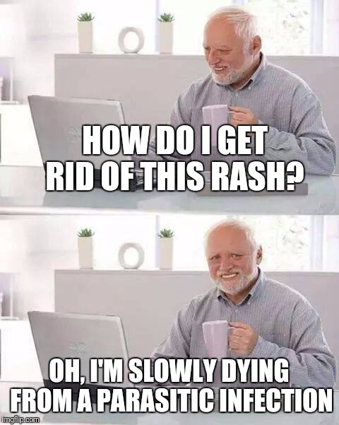 HOW DO I GET RID OF THIS RASH? OH, I'M SLOWLY DYING FROM A PARASITIC INFECTION | made w/ Imgflip meme maker