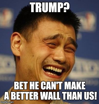 fnny asian man | TRUMP? BET HE CAN'T MAKE A BETTER WALL THAN US! | image tagged in fnny asian man | made w/ Imgflip meme maker