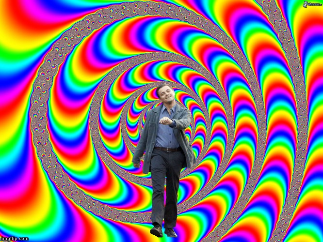 Dew da dew | image tagged in leonardo dicaprio,strut,optical illusion | made w/ Imgflip meme maker