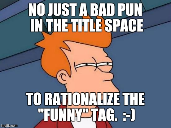 "Futurama Fry Meme | NO JUST A BAD PUN IN THE TITLE SPACE TO RATIONALIZE THE ""FUNNY"" TAG.  :-) 
