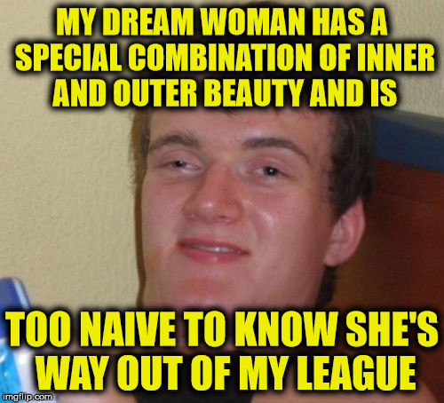 My Dream Woman | MY DREAM WOMAN HAS A SPECIAL COMBINATION OF INNER AND OUTER BEAUTY AND IS TOO NAIVE TO KNOW SHE'S WAY OUT OF MY LEAGUE | image tagged in memes,10 guy,woman | made w/ Imgflip meme maker