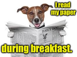 I read my paper during breakfast. | made w/ Imgflip meme maker