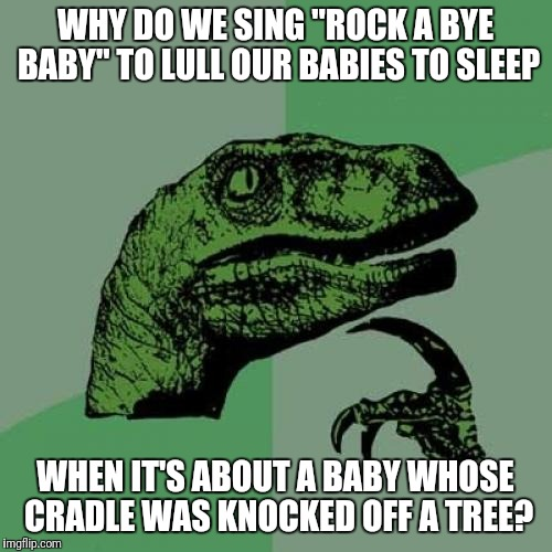 "Philosoraptor Meme | WHY DO WE SING ""ROCK A BYE BABY"" TO LULL OUR BABIES TO SLEEP WHEN IT'S ABOUT A BABY WHOSE CRADLE WAS KNOCKED OFF A TREE? 