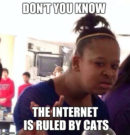 Black Girl Wat Meme | DON'T YOU KNOW THE INTERNET IS RULED BY CATS | image tagged in memes,black girl wat | made w/ Imgflip meme maker