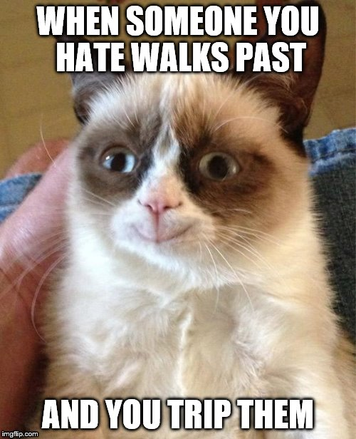 Inspired by alexkilshaw | WHEN SOMEONE YOU HATE WALKS PAST AND YOU TRIP THEM | image tagged in memes,grumpy cat happy,grumpy cat | made w/ Imgflip meme maker
