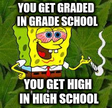 YOU GET GRADED IN GRADE SCHOOL YOU GET HIGH IN HIGH SCHOOL | made w/ Imgflip meme maker