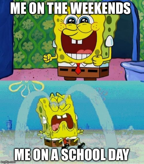 spongebob happy and sad | ME ON THE WEEKENDS ME ON A SCHOOL DAY | image tagged in spongebob happy and sad | made w/ Imgflip meme maker