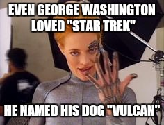 "Seven of Nine | EVEN GEORGE WASHINGTON LOVED ""STAR TREK"" HE NAMED HIS DOG ""VULCAN"" 