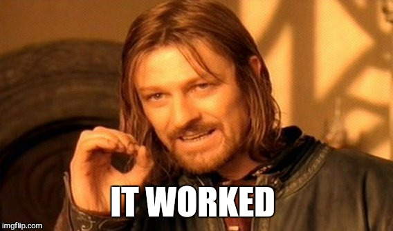 One Does Not Simply Meme | IT WORKED | image tagged in memes,one does not simply,work,balls | made w/ Imgflip meme maker