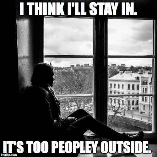 I THINK I'LL STAY IN. IT'S TOO PEOPLEY OUTSIDE. | image tagged in people,funny,lol | made w/ Imgflip meme maker