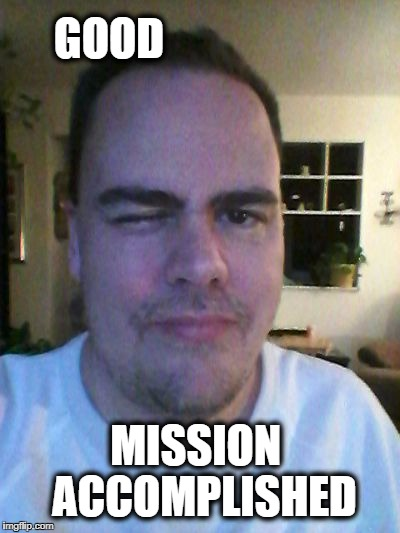 wink | GOOD MISSION  ACCOMPLISHED | image tagged in wink | made w/ Imgflip meme maker