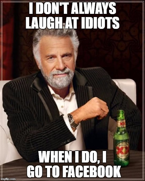 The Most Interesting Man In The World Meme | I DON'T ALWAYS LAUGH AT IDIOTS WHEN I DO, I GO TO FACEBOOK | image tagged in memes,the most interesting man in the world | made w/ Imgflip meme maker