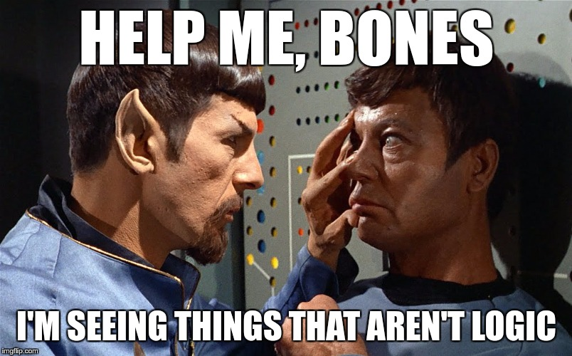 spock n bones | HELP ME, BONES I'M SEEING THINGS THAT AREN'T LOGIC | image tagged in spock n bones | made w/ Imgflip meme maker