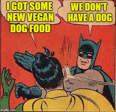 Batman Slapping Robin Meme | I GOT SOME NEW VEGAN DOG FOOD WE DON'T HAVE A DOG | image tagged in memes,batman slapping robin | made w/ Imgflip meme maker