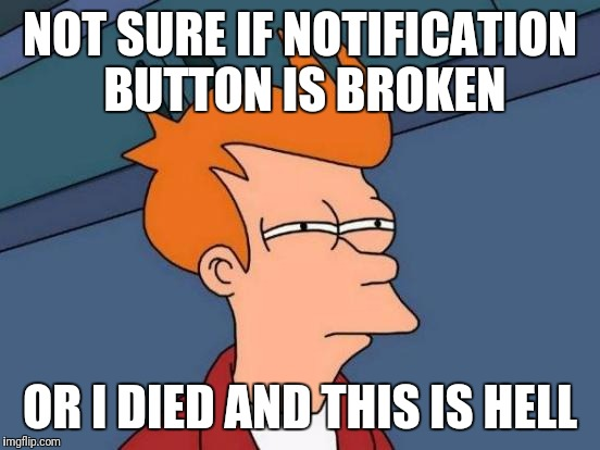 Futurama Fry Meme | NOT SURE IF NOTIFICATION BUTTON IS BROKEN OR I DIED AND THIS IS HELL | image tagged in memes,futurama fry | made w/ Imgflip meme maker