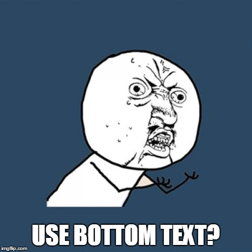 Y U No Meme | USE BOTTOM TEXT? | image tagged in memes,y u no | made w/ Imgflip meme maker