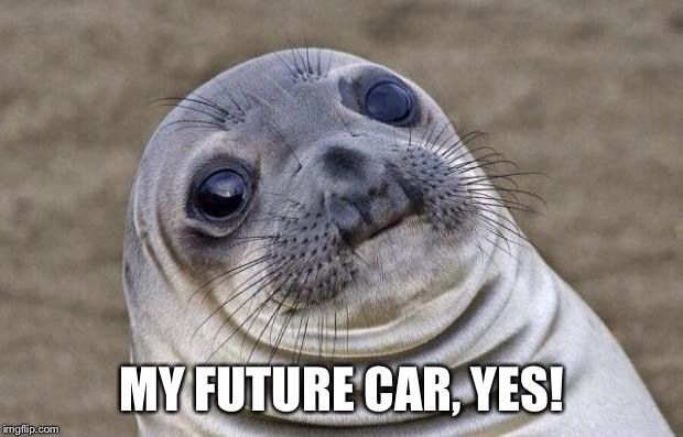 Awkward Moment Sealion Meme | MY FUTURE CAR, YES! | image tagged in memes,awkward moment sealion | made w/ Imgflip meme maker