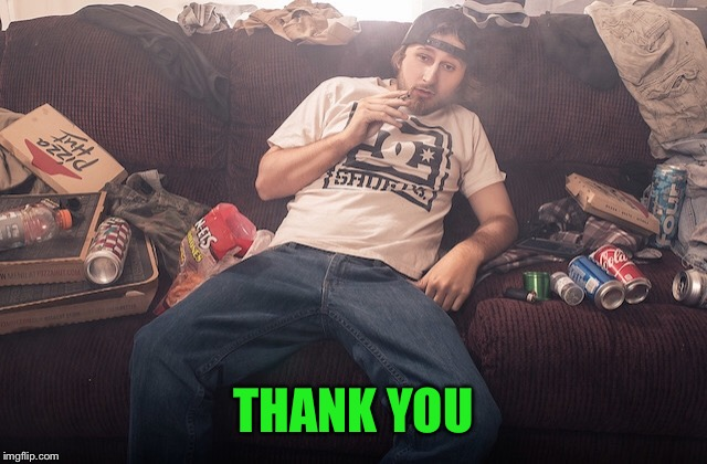 Stoner on couch | THANK YOU | image tagged in stoner on couch | made w/ Imgflip meme maker