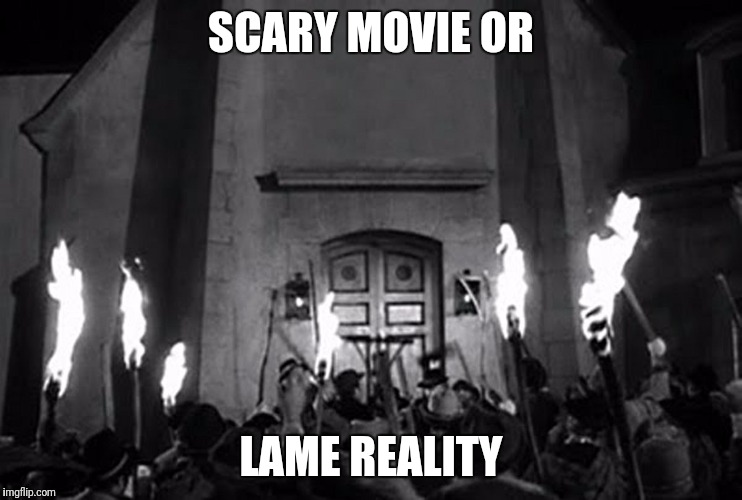 How About Its A Scary Reality | SCARY MOVIE OR LAME REALITY | image tagged in torches  pitchforks,protesters,white people,tiki,torch | made w/ Imgflip meme maker