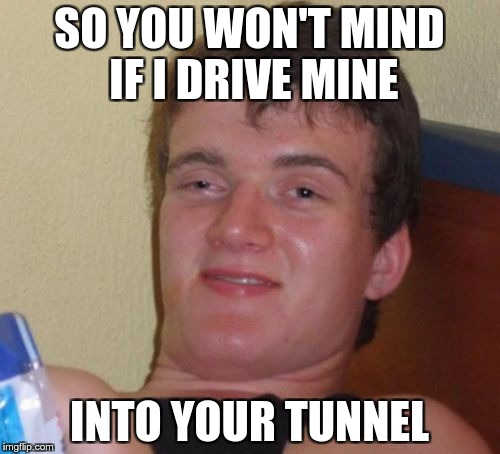 10 Guy Meme | SO YOU WON'T MIND IF I DRIVE MINE INTO YOUR TUNNEL | image tagged in memes,10 guy | made w/ Imgflip meme maker