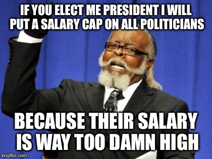 Too Damn High Meme | IF YOU ELECT ME PRESIDENT I WILL PUT A SALARY CAP ON ALL POLITICIANS BECAUSE THEIR SALARY IS WAY TOO DAMN HIGH | image tagged in memes,too damn high | made w/ Imgflip meme maker