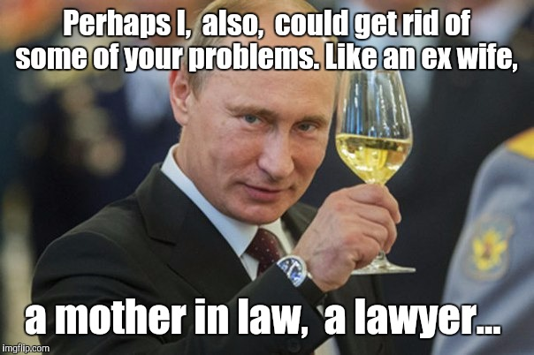 Perhaps I,  also,  could get rid of some of your problems. Like an ex wife, a mother in law,  a lawyer... | made w/ Imgflip meme maker