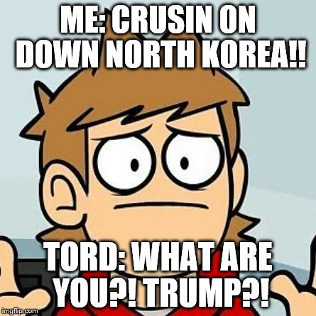 Eddsworld | ME: CRUSIN ON DOWN NORTH KOREA!! TORD: WHAT ARE YOU?! TRUMP?! | image tagged in eddsworld | made w/ Imgflip meme maker