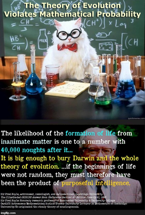 image tagged in evolution,probability,mathematical,fred hoyle,biogenesis,darwin | made w/ Imgflip meme maker