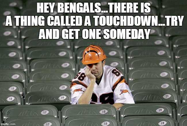 nfl bengals no touchdowns | HEY BENGALS...THERE IS A THING CALLED A TOUCHDOWN...TRY AND GET ONE SOMEDAY | image tagged in nfl bengals no touchdown,bengals,nfl memes | made w/ Imgflip meme maker