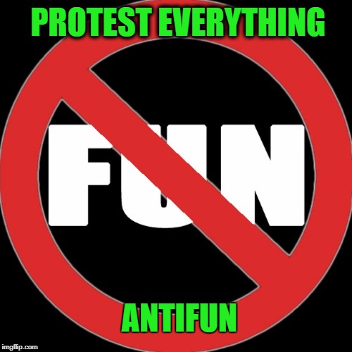Antifun | PROTEST EVERYTHING ANTIFUN | image tagged in antifa,no fun,politics,riots,leftists | made w/ Imgflip meme maker