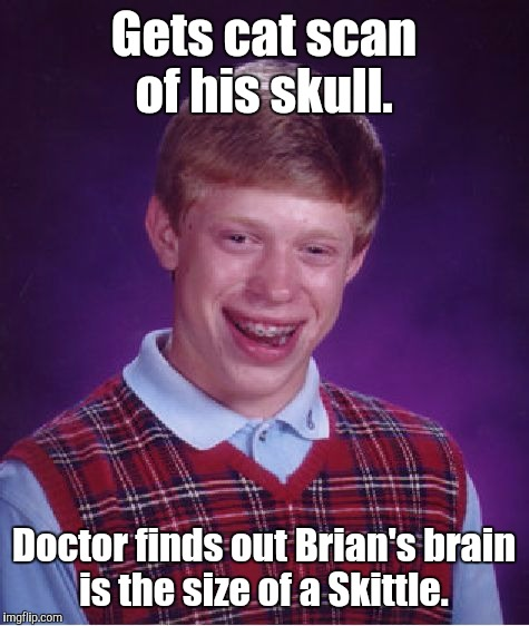 Bad Luck Brian Meme | Gets cat scan of his skull. Doctor finds out Brian's brain is the size of a Skittle. | image tagged in memes,bad luck brian | made w/ Imgflip meme maker
