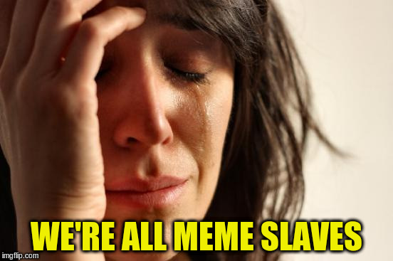 First World Problems Meme | WE'RE ALL MEME SLAVES | image tagged in memes,first world problems | made w/ Imgflip meme maker