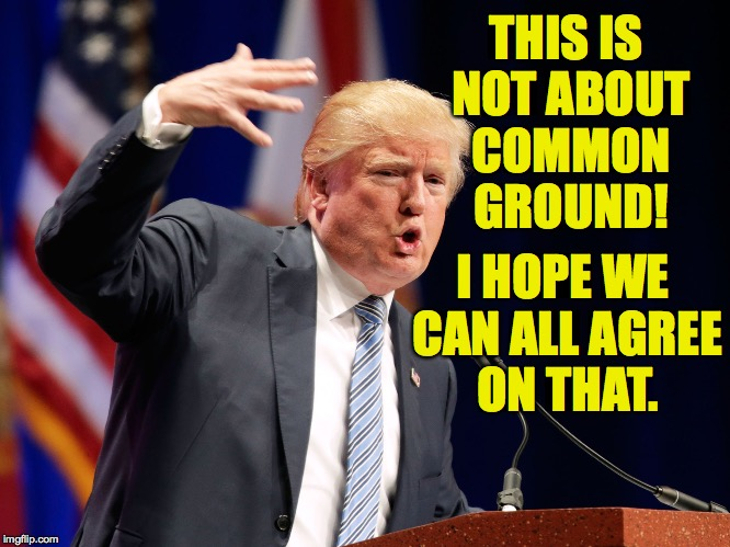Where the rest of us couldn't, Trump finds a way to reach his core supporters. | THIS IS NOT ABOUT COMMON GROUND! I HOPE WE CAN ALL AGREE ON THAT. | image tagged in gangsta trump,memes,trump | made w/ Imgflip meme maker