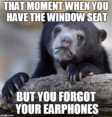 Confession Bear Meme | THAT MOMENT WHEN YOU HAVE THE WINDOW SEAT BUT YOU FORGOT YOUR EARPHONES | image tagged in memes,confession bear | made w/ Imgflip meme maker