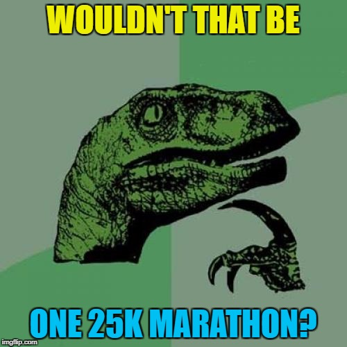 Philosoraptor Meme | WOULDN'T THAT BE ONE 25K MARATHON? | image tagged in memes,philosoraptor | made w/ Imgflip meme maker