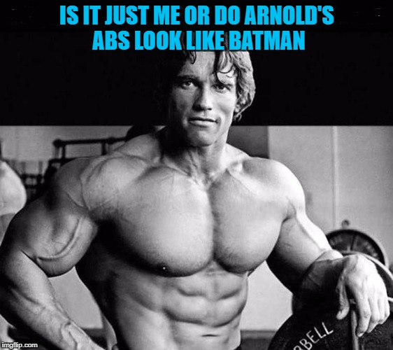 I'm Abman!!! | IS IT JUST ME OR DO ARNOLD'S ABS LOOK LIKE BATMAN | image tagged in arnold schwarzenegger,memes,batman,funny,abs,padme's abs | made w/ Imgflip meme maker
