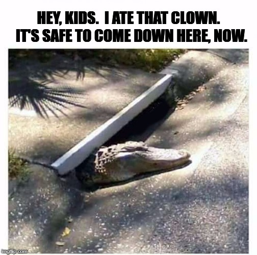 HEY, KIDS.  I ATE THAT CLOWN.  IT'S SAFE TO COME DOWN HERE, NOW. | image tagged in crocopennywise | made w/ Imgflip meme maker