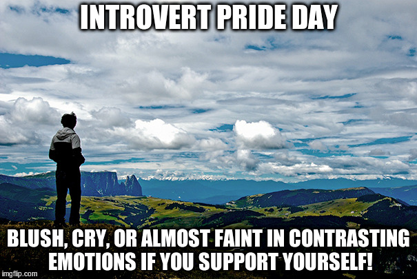 Time for pride!  | INTROVERT PRIDE DAY BLUSH, CRY, OR ALMOST FAINT IN CONTRASTING EMOTIONS IF YOU SUPPORT YOURSELF! | image tagged in memes,introvert,introvert pride | made w/ Imgflip meme maker