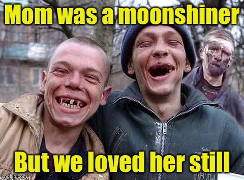 Bad Pun Hillbillies | Mom was a moonshiner But we loved her still | image tagged in hillbilly philosophy,memes,bad pun | made w/ Imgflip meme maker