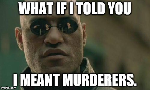 Matrix Morpheus Meme | WHAT IF I TOLD YOU I MEANT MURDERERS. | image tagged in memes,matrix morpheus | made w/ Imgflip meme maker