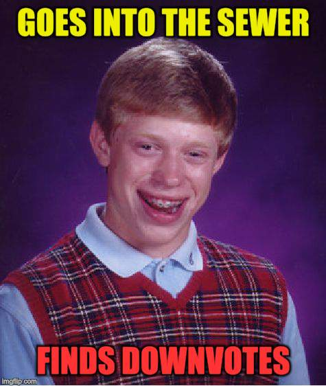 Bad Luck Brian Meme | GOES INTO THE SEWER FINDS DOWNVOTES | image tagged in memes,bad luck brian | made w/ Imgflip meme maker