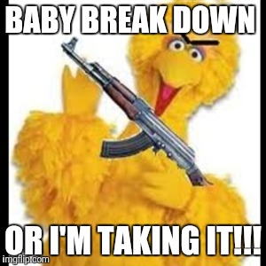 BABY BREAK DOWN OR I'M TAKING IT!!! | image tagged in angry big bird | made w/ Imgflip meme maker
