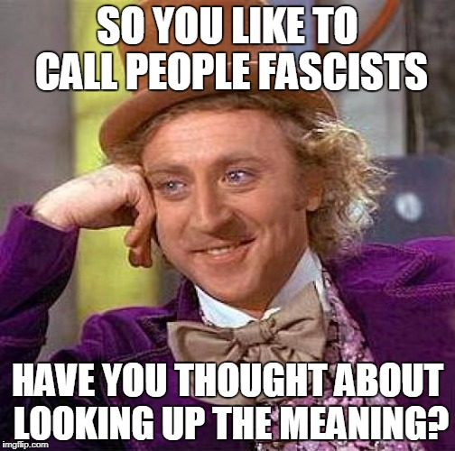Creepy Condescending Wonka Meme | SO YOU LIKE TO CALL PEOPLE FASCISTS HAVE YOU THOUGHT ABOUT LOOKING UP THE MEANING? | image tagged in memes,creepy condescending wonka | made w/ Imgflip meme maker
