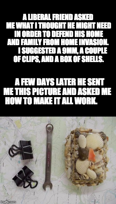 Yes, I know that it ought to be magazines instead of clips. | A LIBERAL FRIEND ASKED ME WHAT I THOUGHT HE MIGHT NEED IN ORDER TO DEFEND HIS HOME AND FAMILY FROM HOME INVASION.       I SUGGESTED A 9MM,  | image tagged in gun control | made w/ Imgflip meme maker