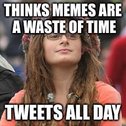 hippie meme girl | THINKS MEMES ARE A WASTE OF TIME TWEETS ALL DAY | image tagged in hippie meme girl | made w/ Imgflip meme maker