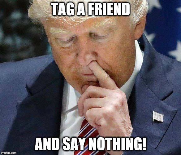 TAG A FRIEND AND SAY NOTHING! | image tagged in trump picking nose | made w/ Imgflip meme maker